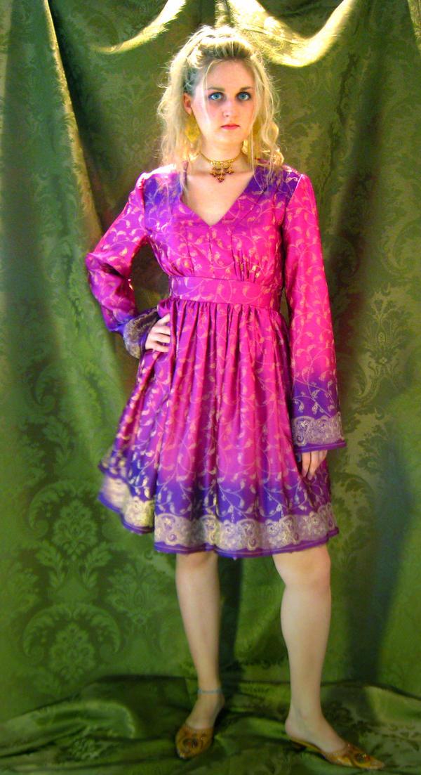 Pink Sari fabric dress by ThreeRingCinema