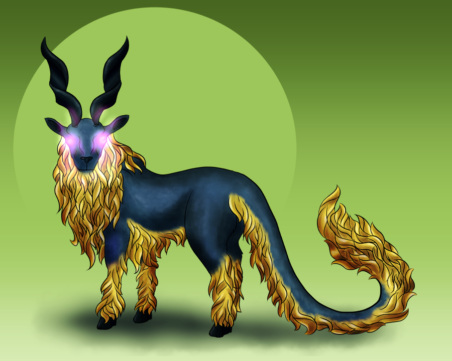 Randomizer sketch 4 - Supernatural goat dragon by Deimonian