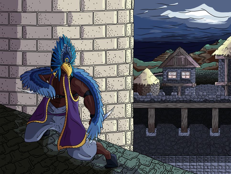 Randomizer sketch 13 - Assassin-y bird man by Deimonian