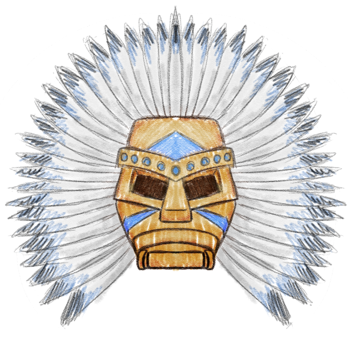 Populous: The Beginning - blue tribe shaman's mask by Deimonian