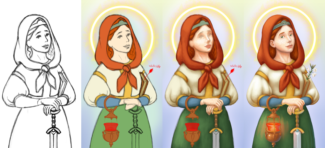 Progression of Saint Dymphna by CaligariMarte