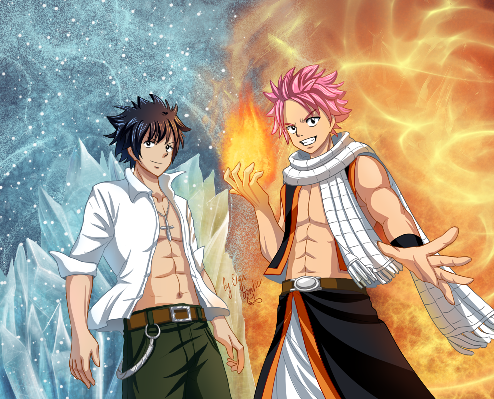 Natsu and Gray - Fire and Ice by ElynGontier