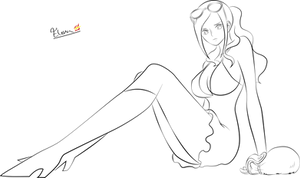 OnePiece - LineArt Nico Robin by Helenha