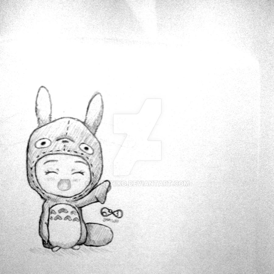 Totoro chibi costume pencil sketch by kyrahiko