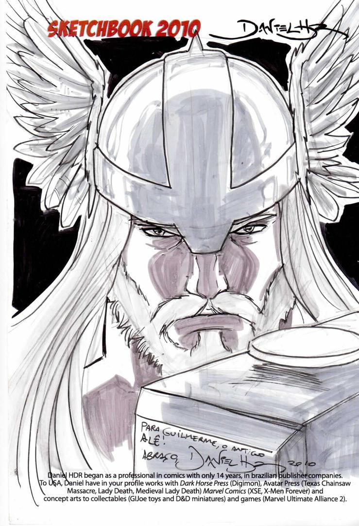 Thor headshot sketch II by danielhdr