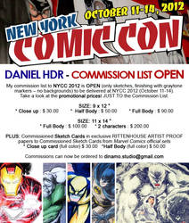 NEW YORK COMIC CON 2012 Commission List OPEN by danielhdr