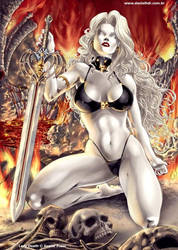 LadyDeath LeatheLace pinup by danielhdr