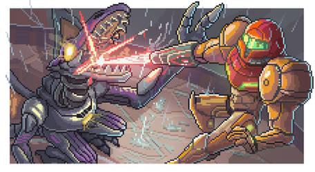 Samus Vs Ridley Metroid Pixel Art: Thank You by BryanHeemskerk