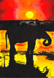 African Sunset with Elephant by 88Laura88
