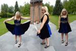 Midnight blue velvet dress