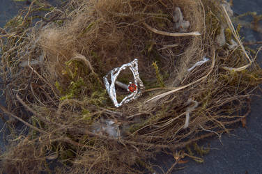 Orange garnet ring
