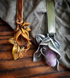 Tauriel and Legolas pendants by Aegileif