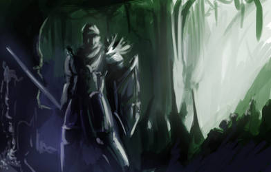 warrior in cave quicky by MysticDragons
