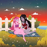 Pride month Bubblegum and Marceline comm fan art by Lemanntim