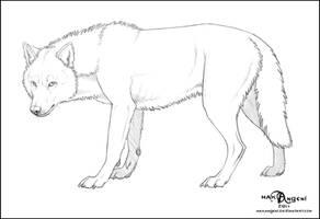 Free Lineart - Wolf by makangeni