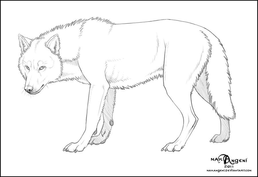 free lineart wolf by makangeni on deviantart