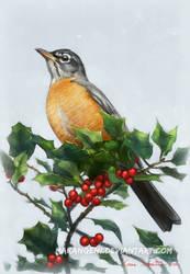 American Robin digital by makangeni