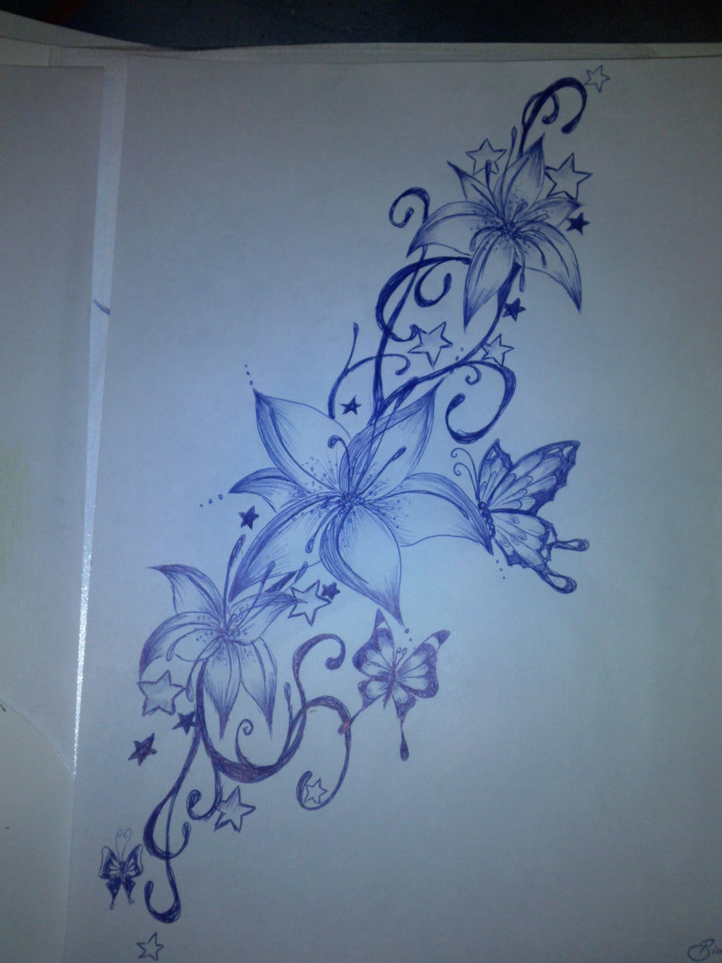 tattoo design flowers butterflies by bibionxtc on deviantart. Black Bedroom Furniture Sets. Home Design Ideas