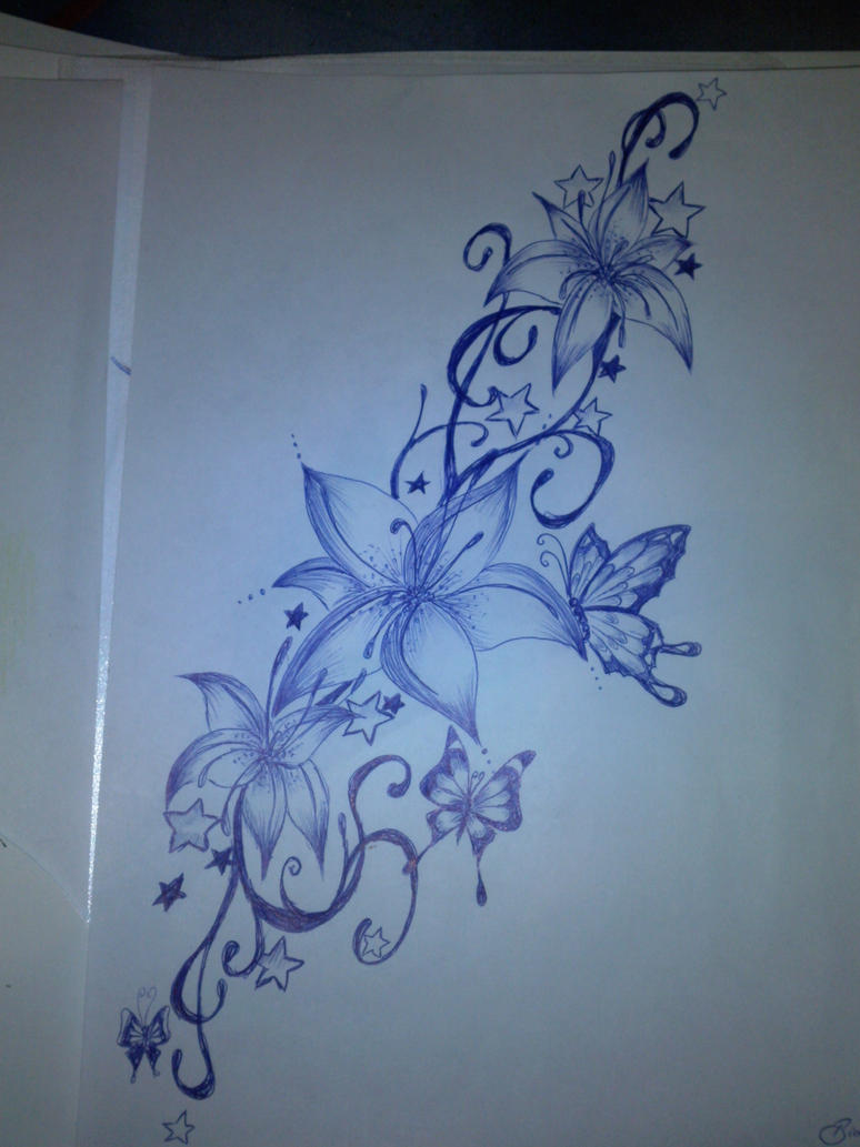 Butterfly flower tattoo drawing the for Lotus flower and butterfly tattoo designs