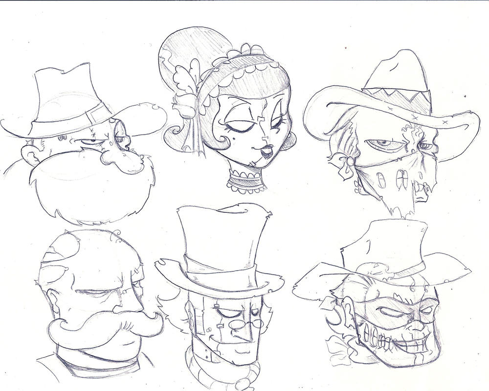 Zombie cowboys or whatever by InfectedLobster