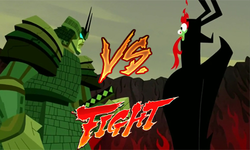 Aku Getting Punch in The Face By The Giant Samurai by kouliousis