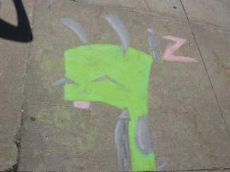 Gir -Drawn With Chalk- 1 by MadzLuvz-InvaderZim