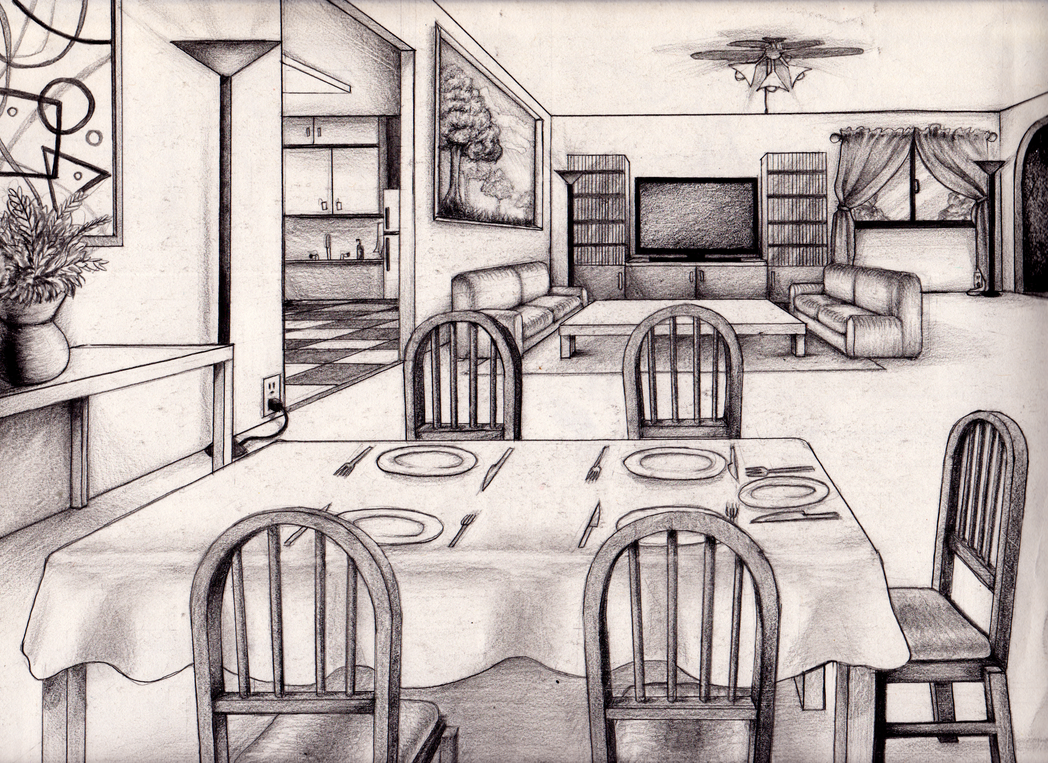 Perspective rooms buildings on pinterest perspective drawing one - 1 Point Perspective Room 05 Interior Pinterest One