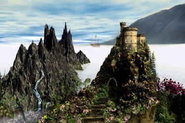 Fantasy Mountain by SableGrey