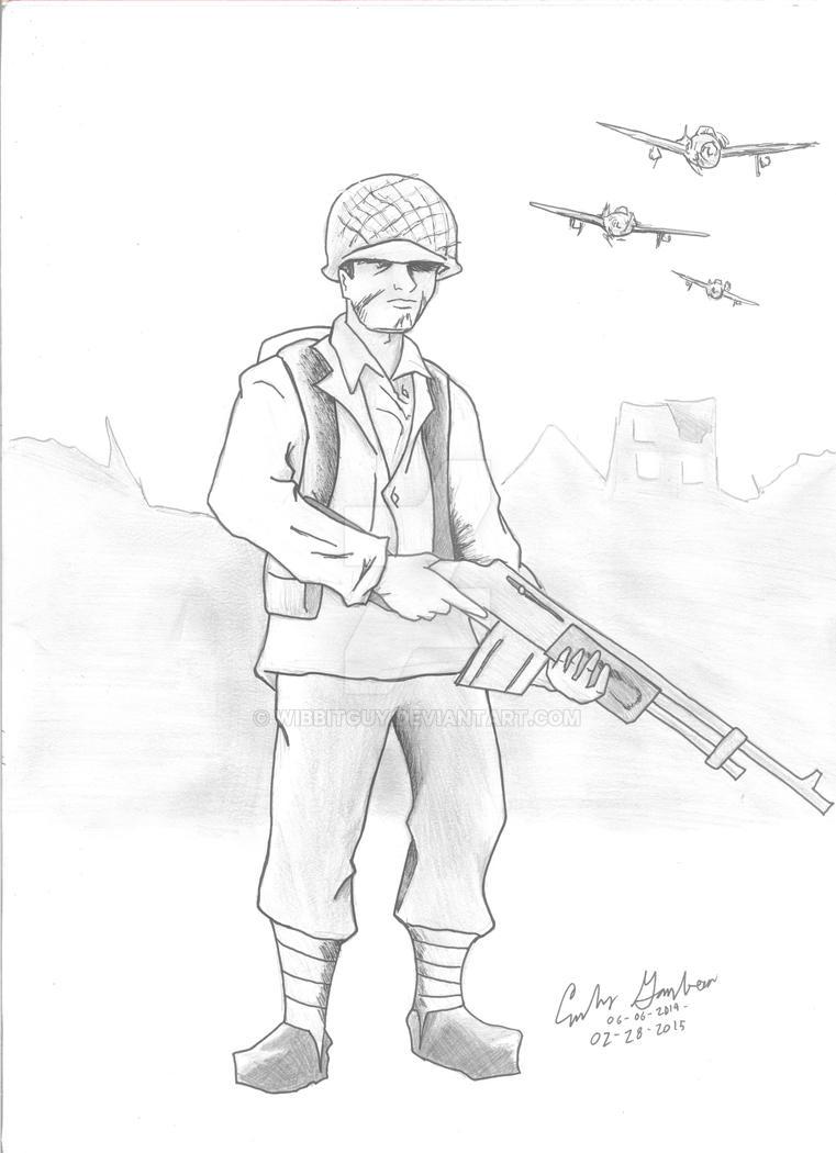 WWII Allied Soldier BW by WibbitGuy