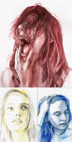 selfportraits in red, yellow and blue by H-Johanna