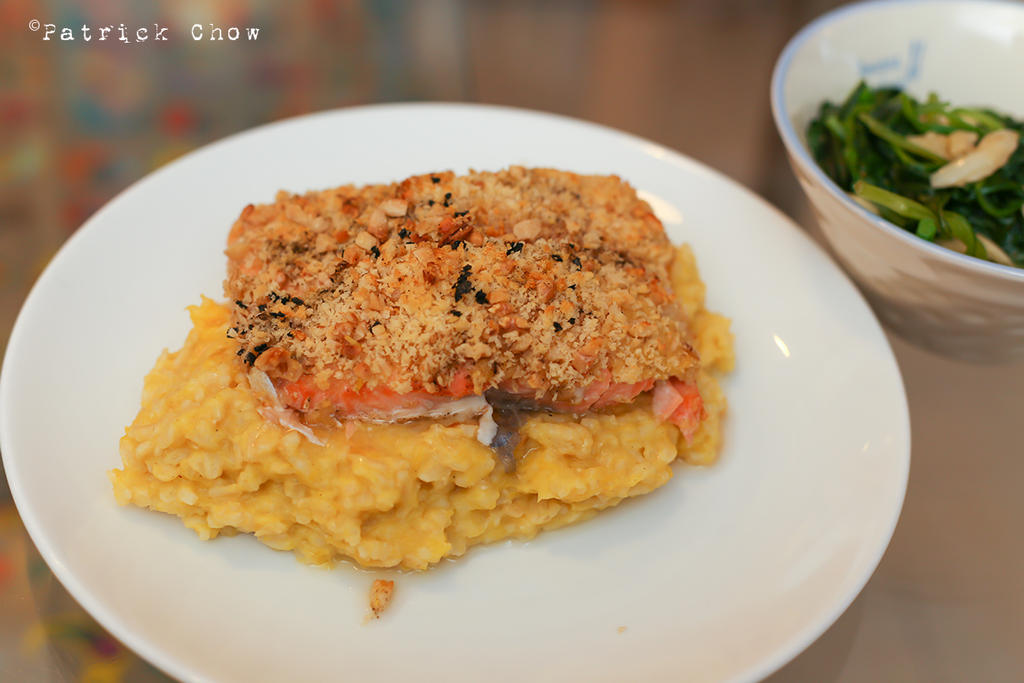 Breaded salmon on risotto by patchow