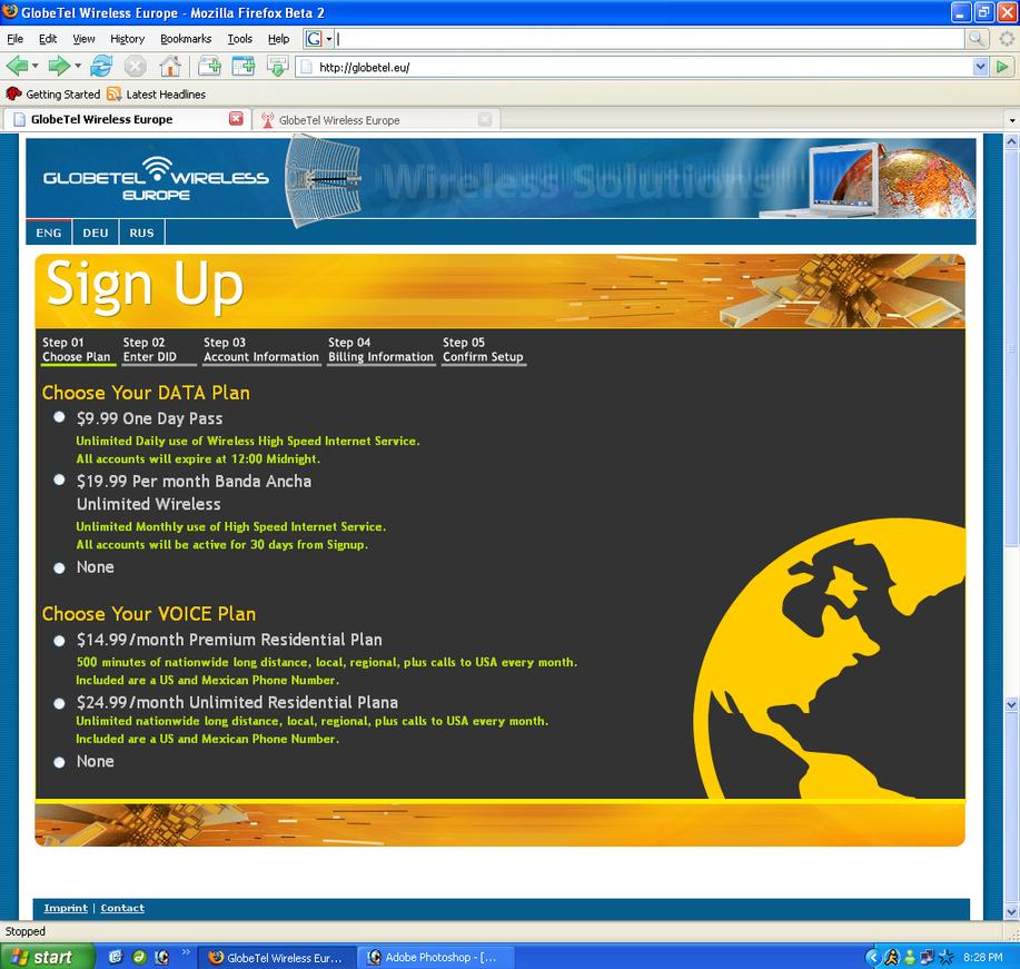 GlobeTel.eu Sign Up Concept by disinformatique