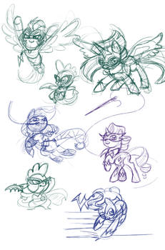 Power Ponies Sketches