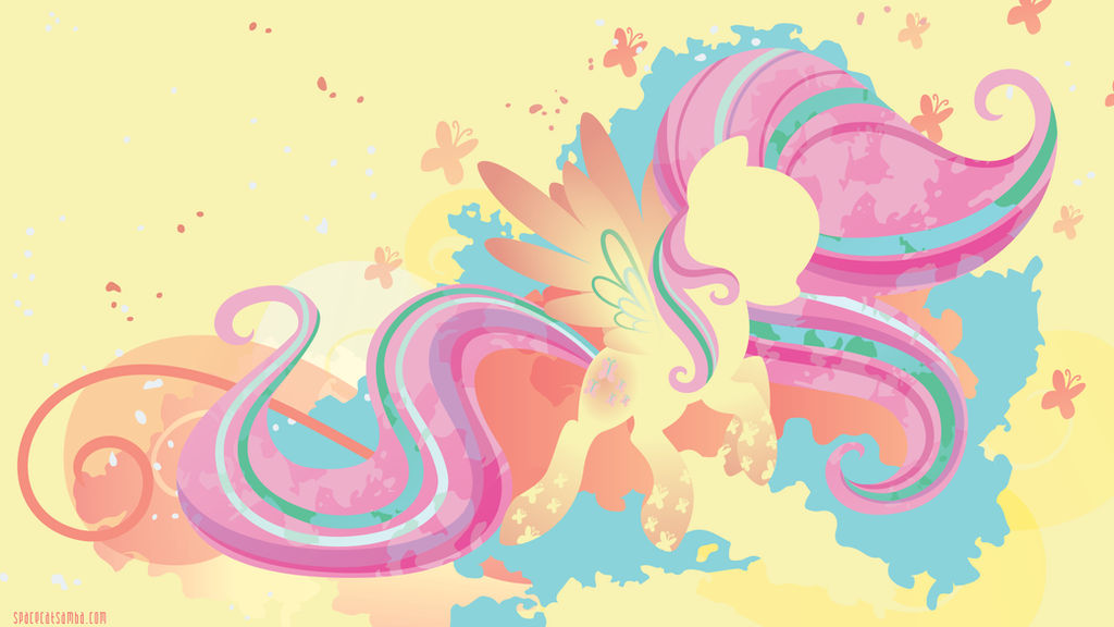 Rainbow Power Fluttershy Silhouette Wall