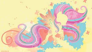 Rainbow Power Fluttershy Silhouette Wall