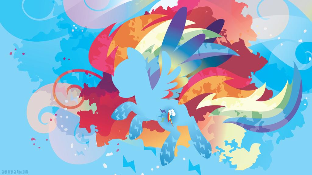 Rainbow Power Rainbow Dash Silhouette Wall by SpaceKitty