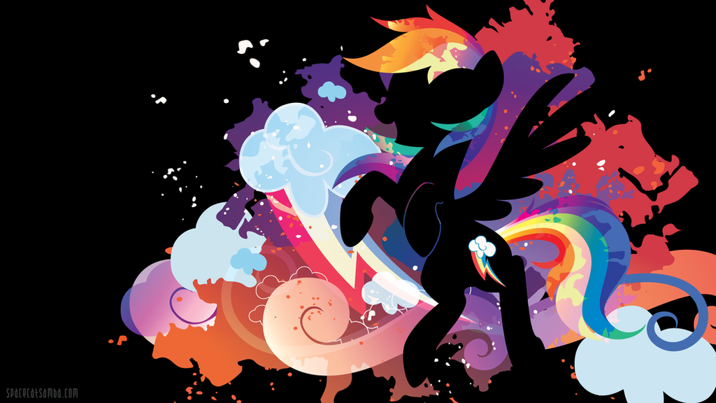 Rainbow Dash Silhouette Wall - Black Edition by SpaceKitty