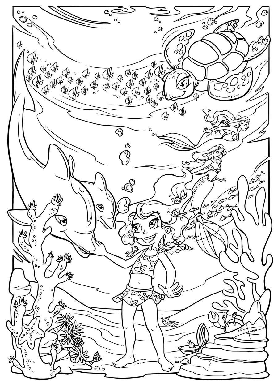 Underwater Fun Coloring Page By Sabinerich On Deviantart Underwater Coloring Pages