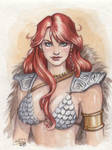 Red Sonja Water color portrait by Sabinerich