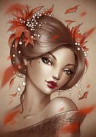 Geisha leaves print by Sabinerich
