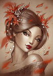 Geisha leaves print