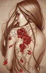 Rose tattoo colored