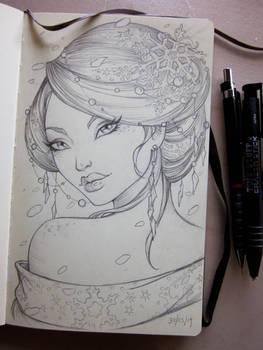 Winter Geisha Moleskine sketch
