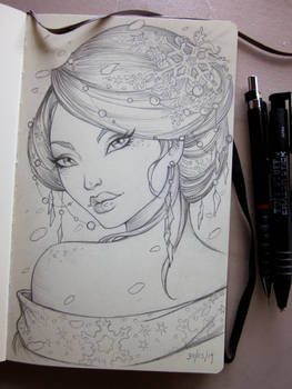 Winter Geisha Moleskine sketch