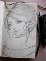 Winter Geisha Moleskine sketch by Sabinerich