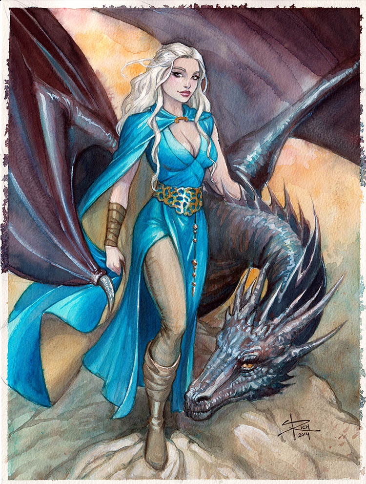 Daenerys watercolor by Sabinerich