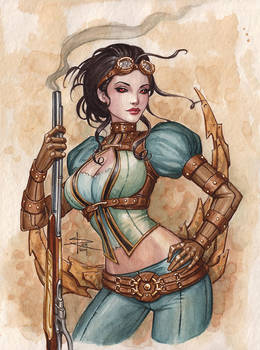 Lady Mechanika - watercolor comission