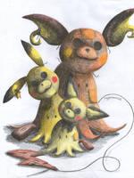 Mimikyu Family by Rayquazanera