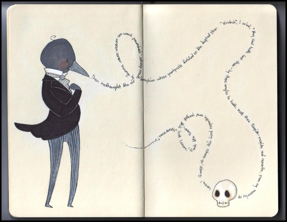 Edgar Allan Poe's raven by kittyvane