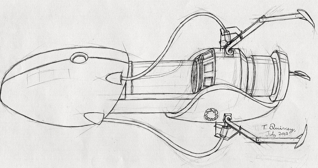 portal gun  sketch  by virtualphoton on deviantart